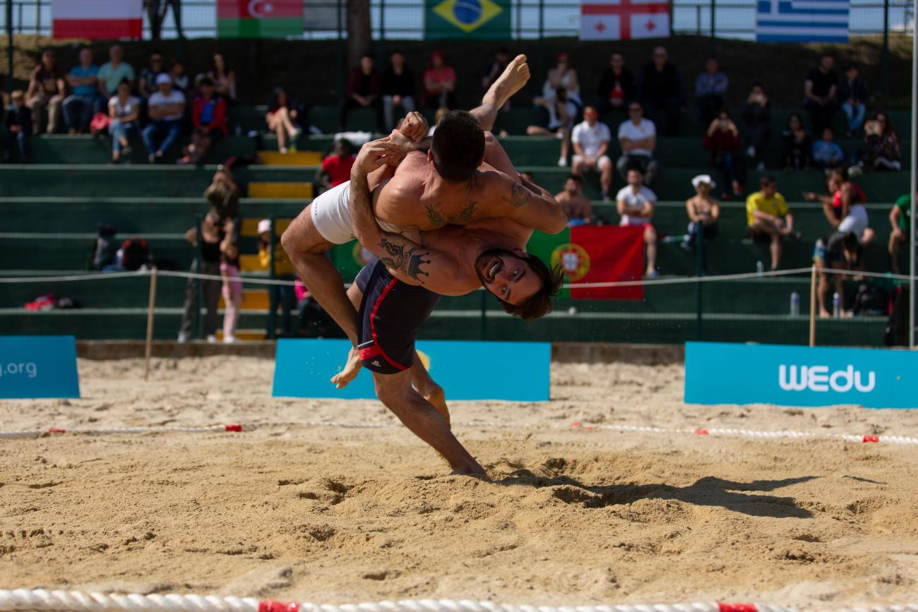 Beach wrestling will be featured at the first ANOC World Beach Games in October © UWW
