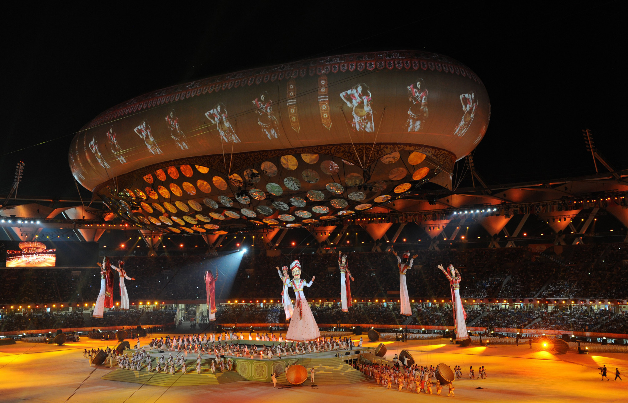 The fireworks finale is seen during the Opening Ceremony for the Delhi 2010 Commonwealth Games at Jawaharlal Nehru Stadium on October 3, 2010 in Delhi, India ©Getty Images