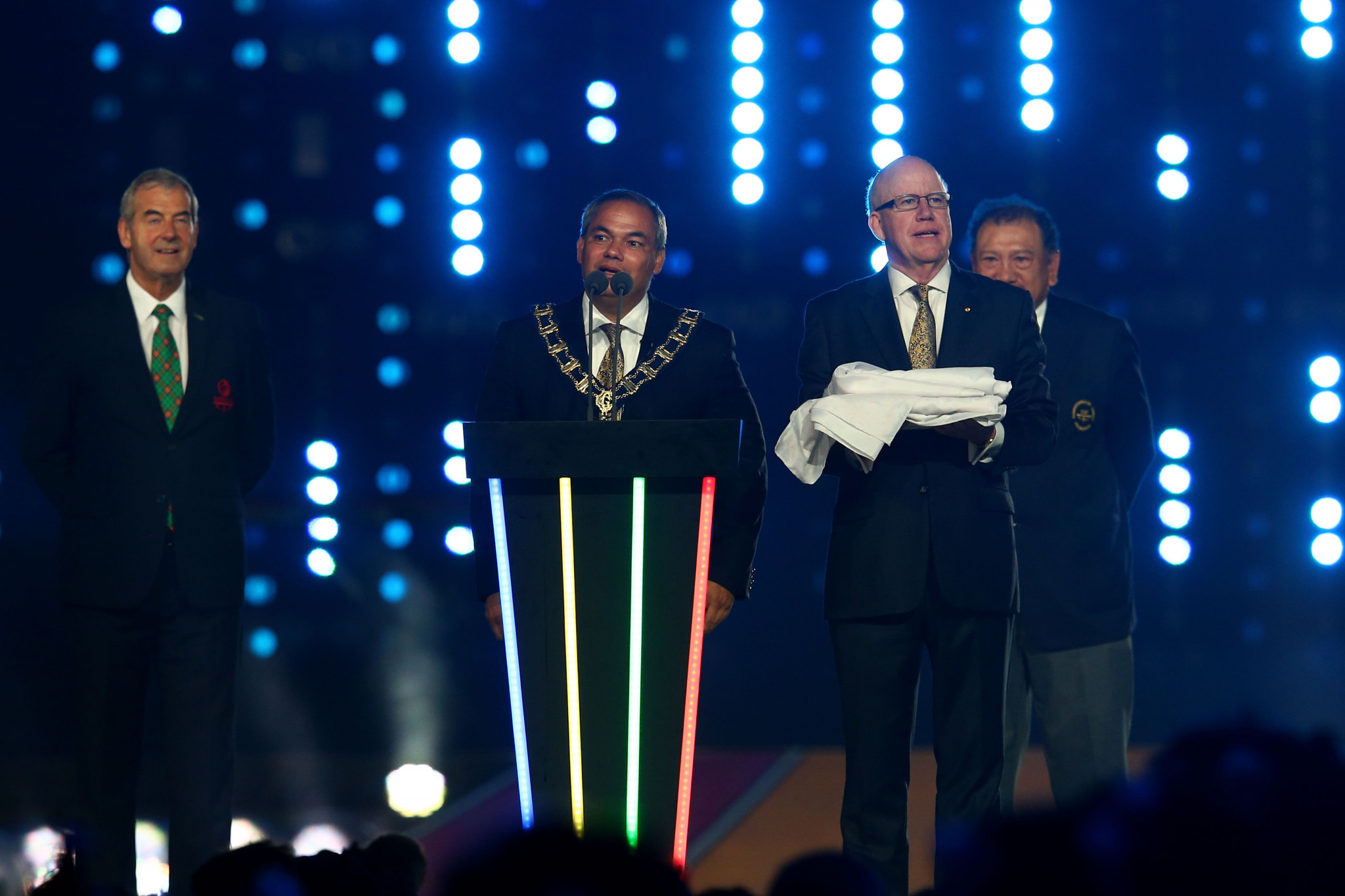 Mayor of the City of Gold Coast, Tom Tate speaks during the Closing Ceremony for the Glasgow 2014 Commonwealth Games at Hampden Park ©Getty Images
