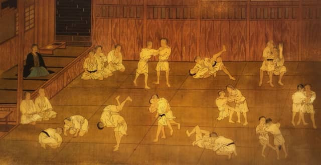 Judo practiced at the Fujimi-cho Kodokan dojo by Hishida Shunso - © Kodokan Institute