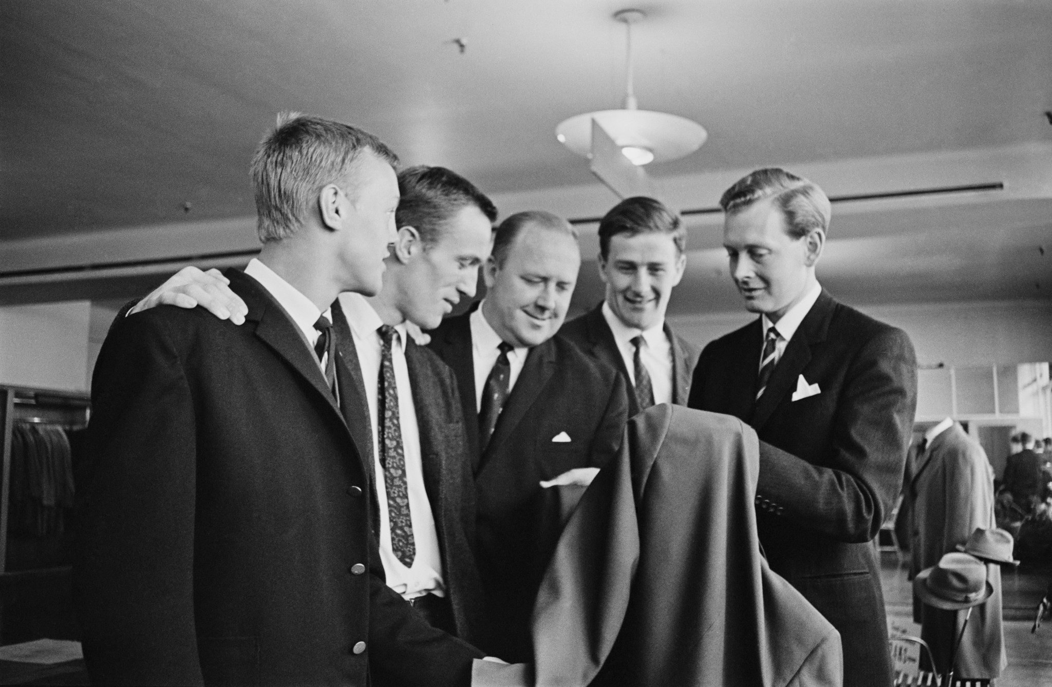 British judoka Tony Sweeney, Syd Hoare (1939 - 2017), Brian Jacks, and Alan Petherbridge trying their Tokyo Olympics outfits by Brian Hewson, Uk, 12th August 1964 ©Getty Images