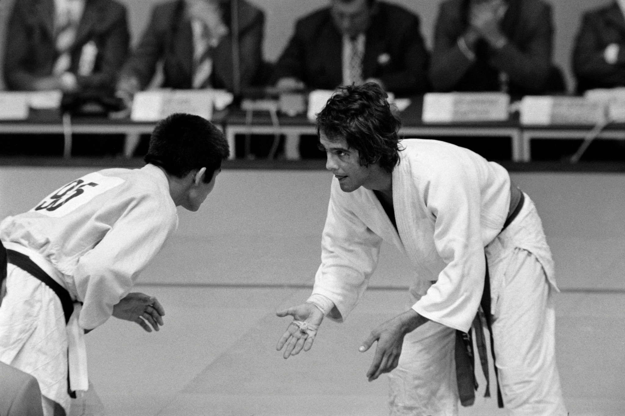 French Lightweight judoka Jean-Jacques Mounier (R) fights against Mongolian Bakhava Buida on September 2, 1972 during the 1972 Summer Olympics in Munich ©Getty Images