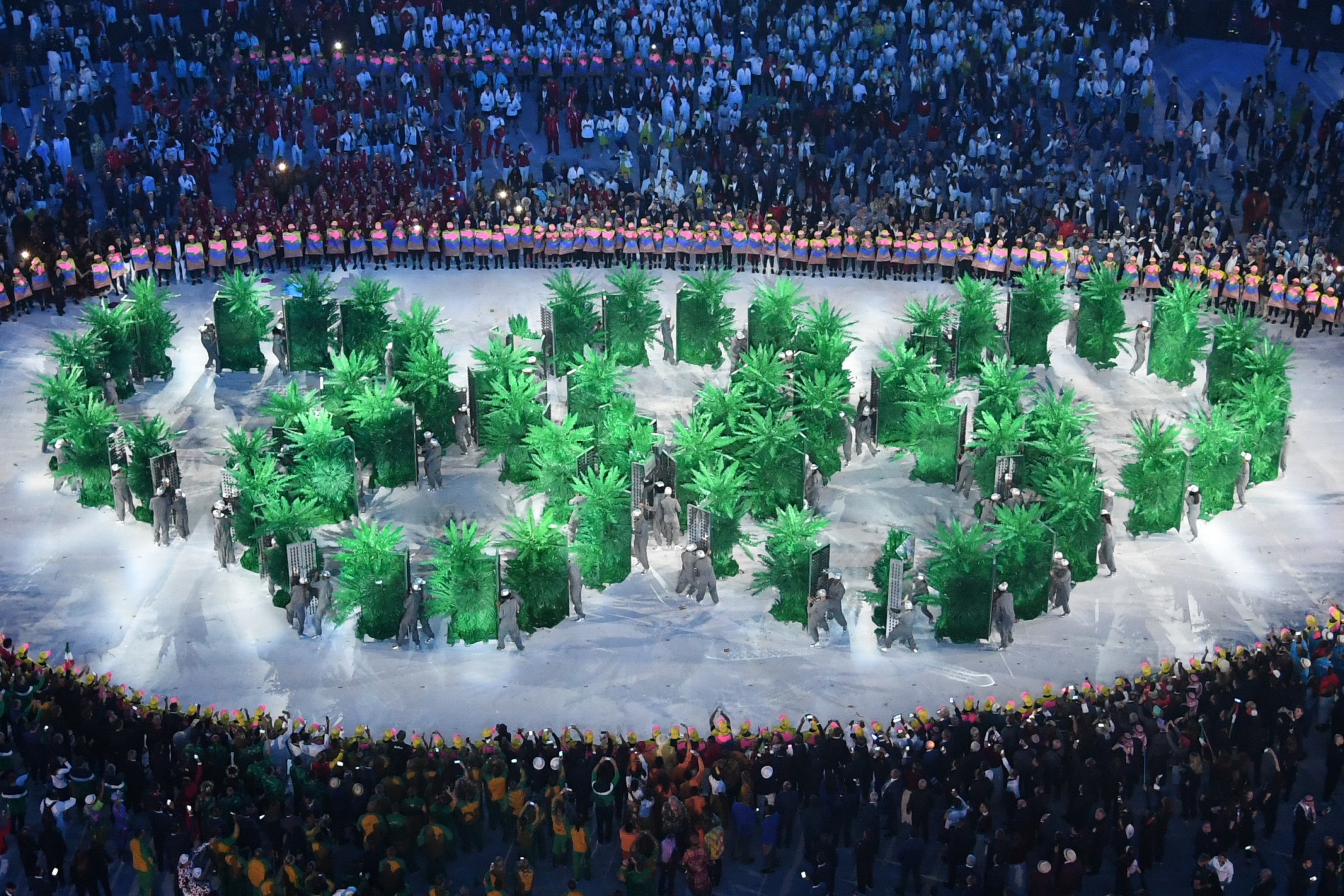 Olympic rings are displayed by the Brazilian delegation during the opening ceremony of the Rio 2016 Olympic Games at the Maracana stadium in Rio de Janeiro on August 5, 2016 ©Getty Images