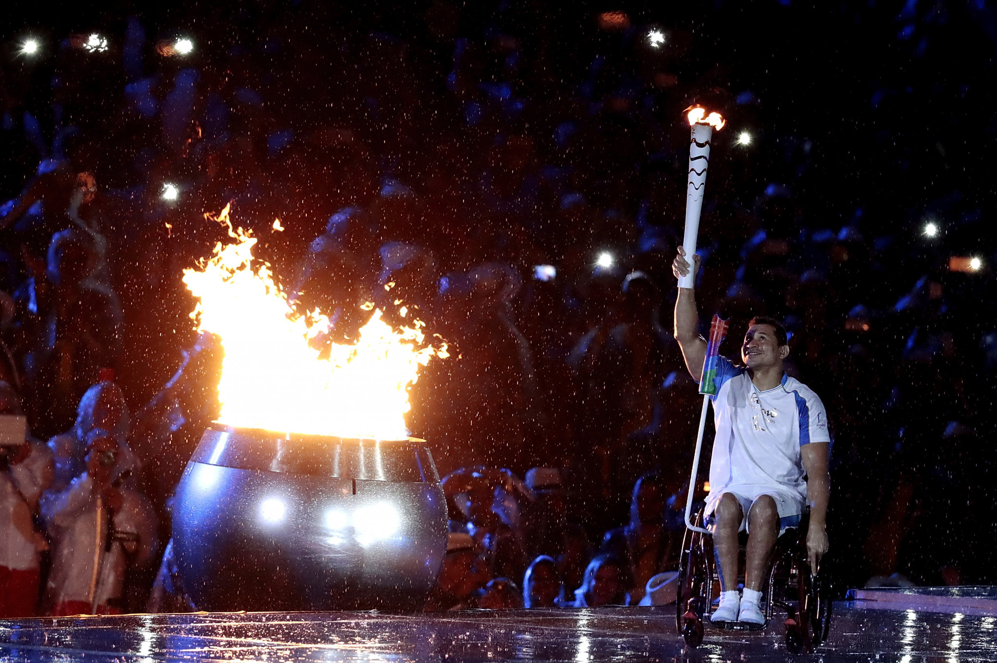 Swimmer, Clodoaldo Silva, of Brazil lights the Paralympic flame during the Opening Ceremony of the Rio 2016 Paralympic Games ©Getty Images