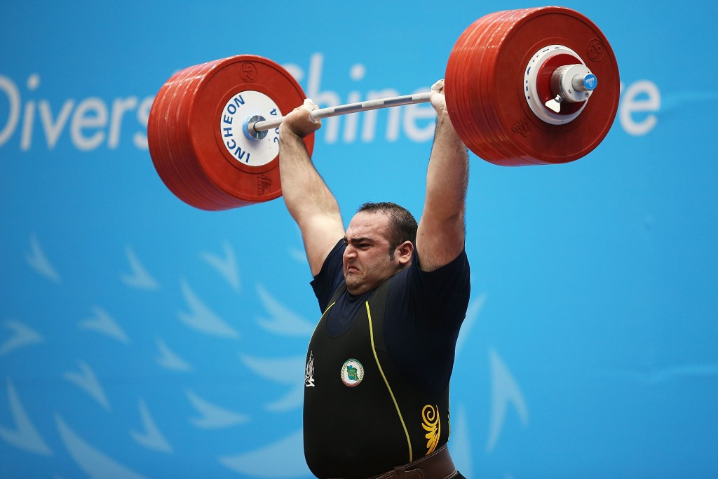 Iranian super heavyweight Behdad Salimi has been ruled out of the 2015 World Weightlifting Championships due to injury ©Getty Images