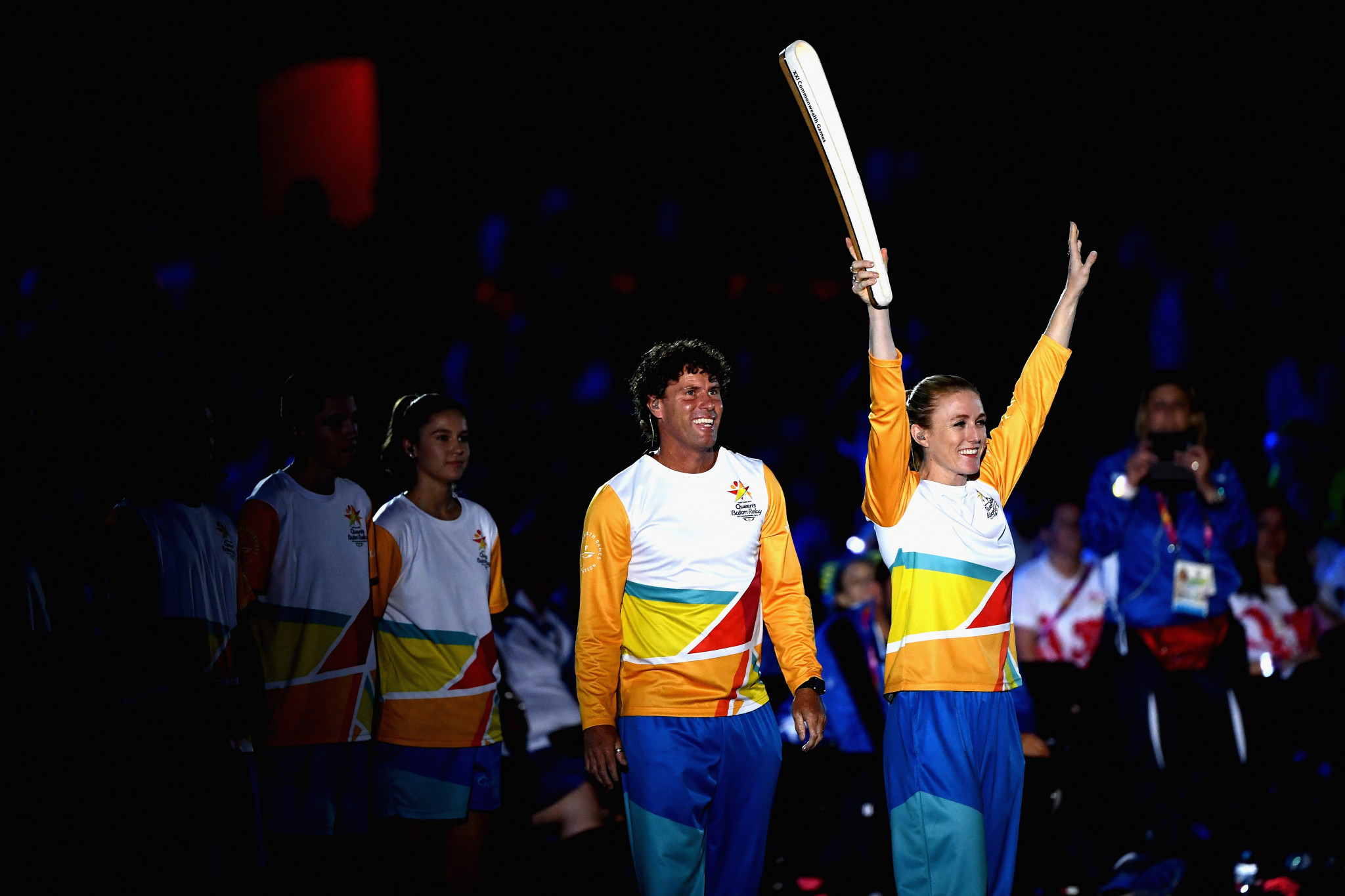 Sally Pearson carries The Queen's Baton during the Opening Ceremony for the Gold Coast 2018 Commonwealth Games ©Getty Images