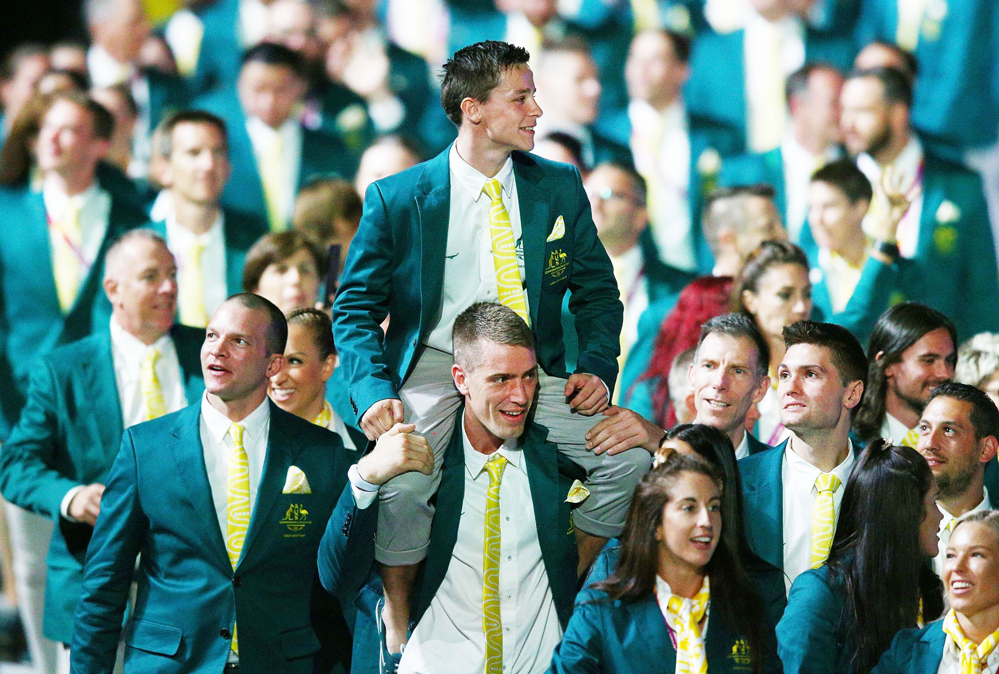 Australian athletes walk around during the Opening Ceremony for the Gold Coast 2018 Commonwealth Games at Carrara Stadium ©Getty Images