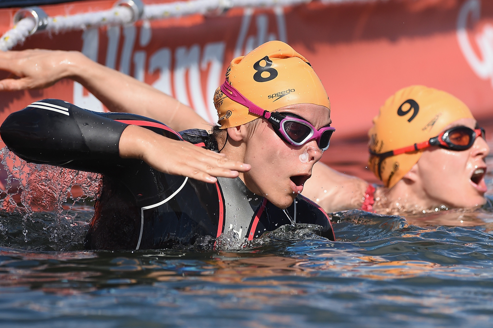Jade Jones of England competes during the swim stage of the Triathlon Women's PTWC Final on day three of the Gold Coast 2018 Commonwealth Games ©Getty Images