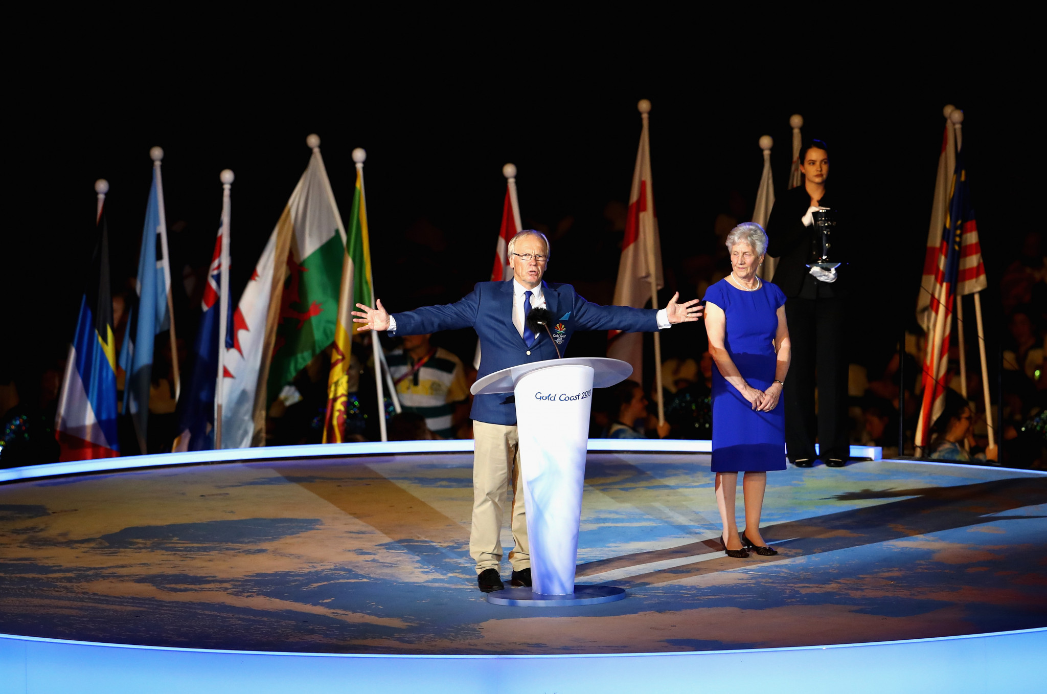 Peter Beattie makes a speech during the Closing Ceremony for the Gold Coast 2018 Commonwealth Games at Carrara Stadium ©Getty Images