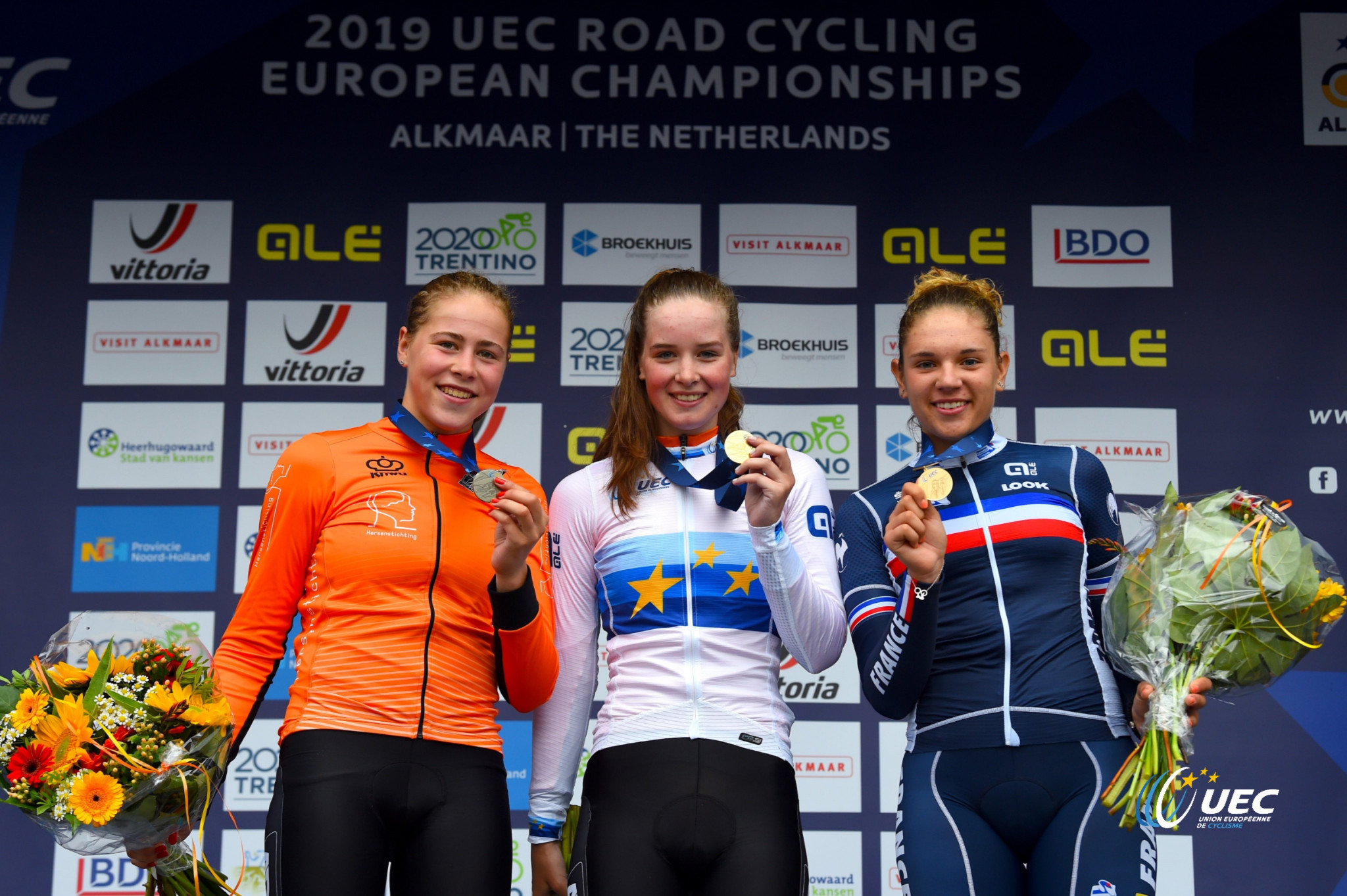 Ilse Pluimers continued Netherlands' strong record at the European Cycling Union Road Championships ©Twitter/UEC Cycling