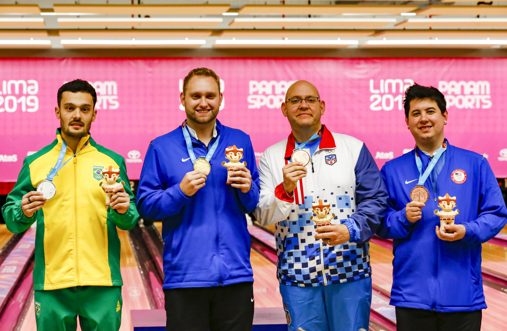 Jean Perez, third left, is expected to keep his singles bronze medal ©Getty Images