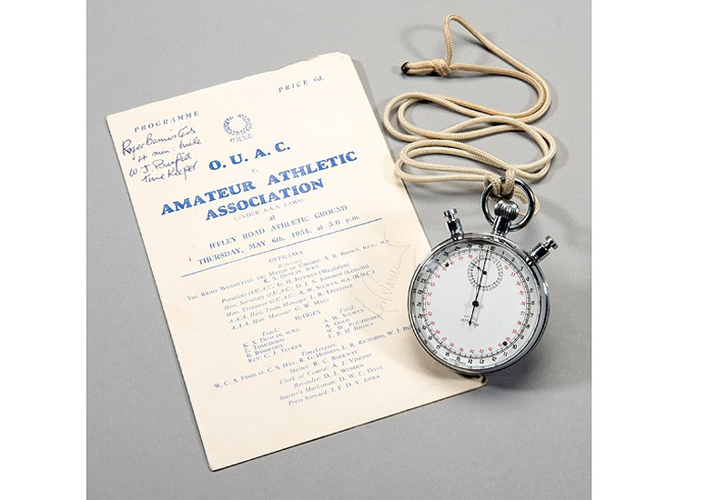 The stopwatch used to record Sir Roger Bannister's running of the first sub-four minute mile is estimated to make up to £8,000