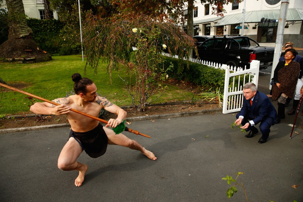 Robin Mitchell has said the visit of Thomas Bach, pictured being welcomed with a traditional Māori challenge during a Pōwhiri, has brought new opportunities for Oceania sport ©Getty Images