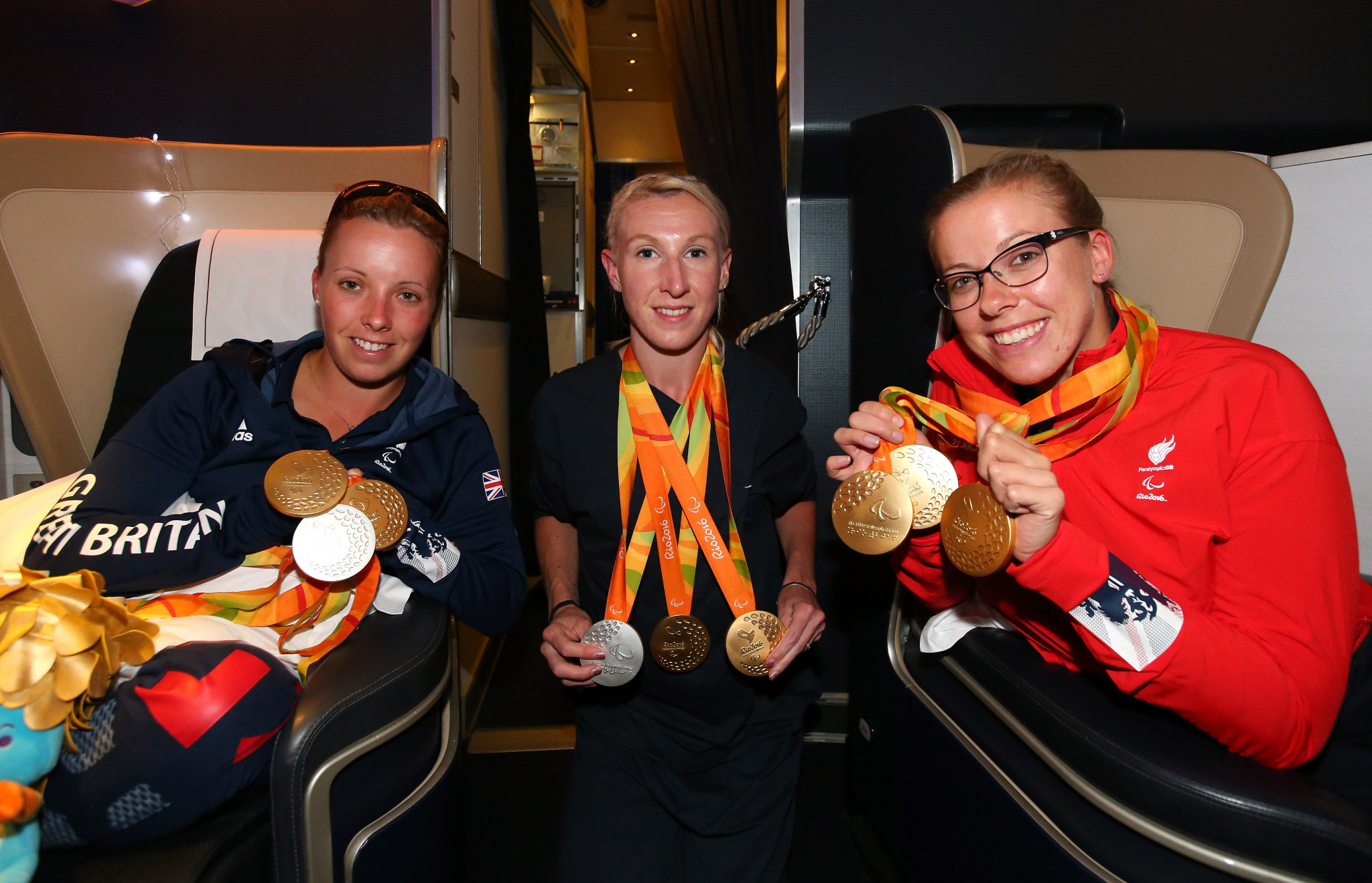 Sophie Wells, left, won a medal of each colour at the Rio 2016 Paralympic Games ©Getty Images