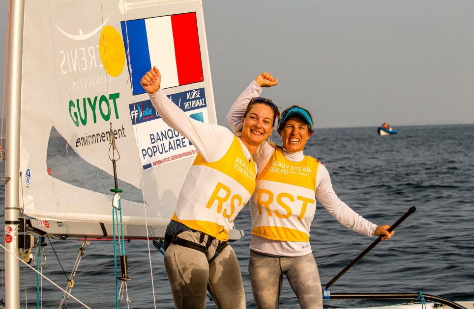 Camille Lecointre and Aloise Retornaz won the only medal race possible at the Olympic test event ©World Sailing