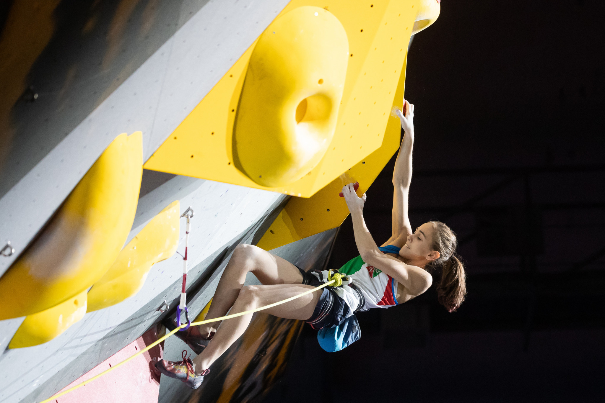 Home favourite Laura Rogora topped the women's junior lead qualification standings on day two of the IFSC Youth World Championships in Arco in Italy ©Getty Images