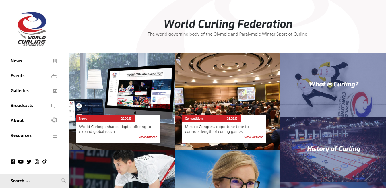 The capabilities of the World Curling Federation's website have been improved ©WCF