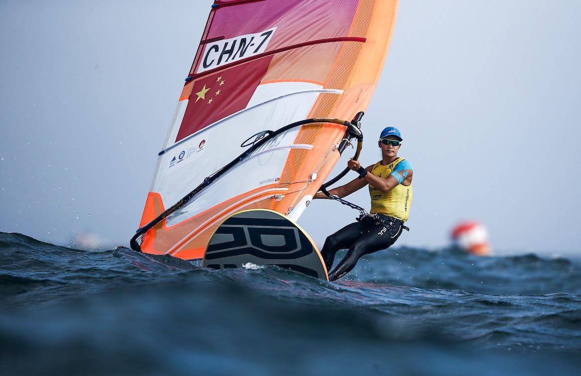 Chinese windsurfer Yunxiu Lu recorded a hat-trick of victories ©World Sailing