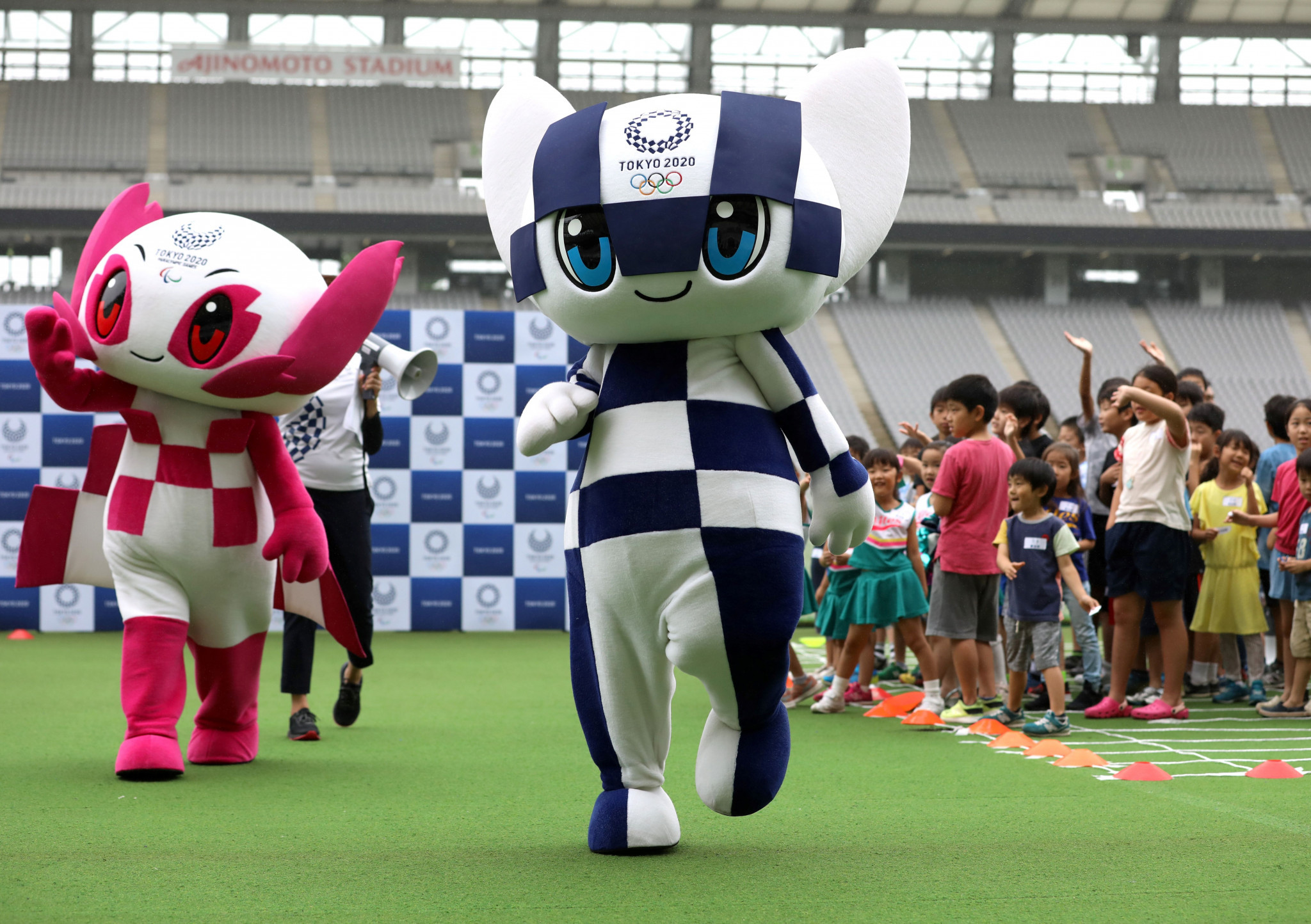 Tokyo 2020 mascots Miraitowa, right, and Someity oversaw the sampling and creation of the Make the Beat shortlist ©Getty Images