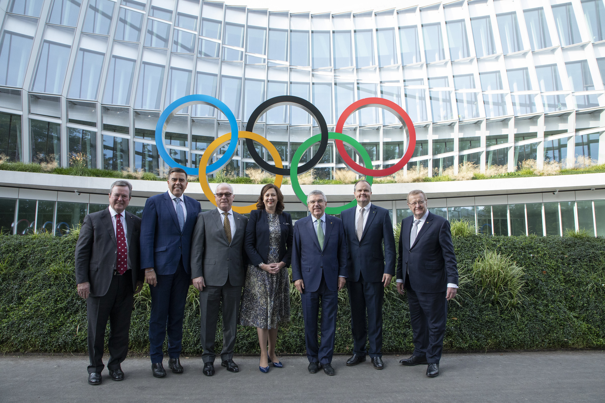 A delegation from Australia met IOC officials, including President Thomas Bach, third from right, in Lausanne ©IOC