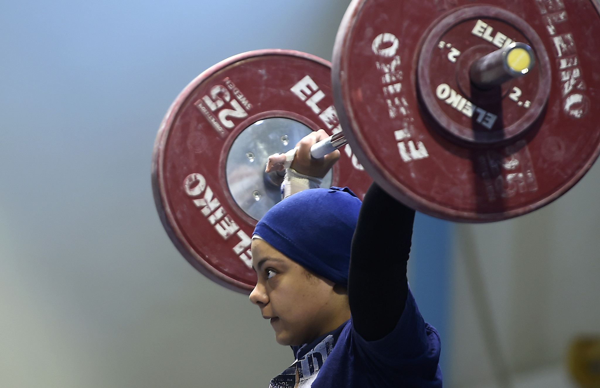 Sara Ahmed was the first female weightlifter from an Arab nation to stand on an Olympic podium ©Getty Images