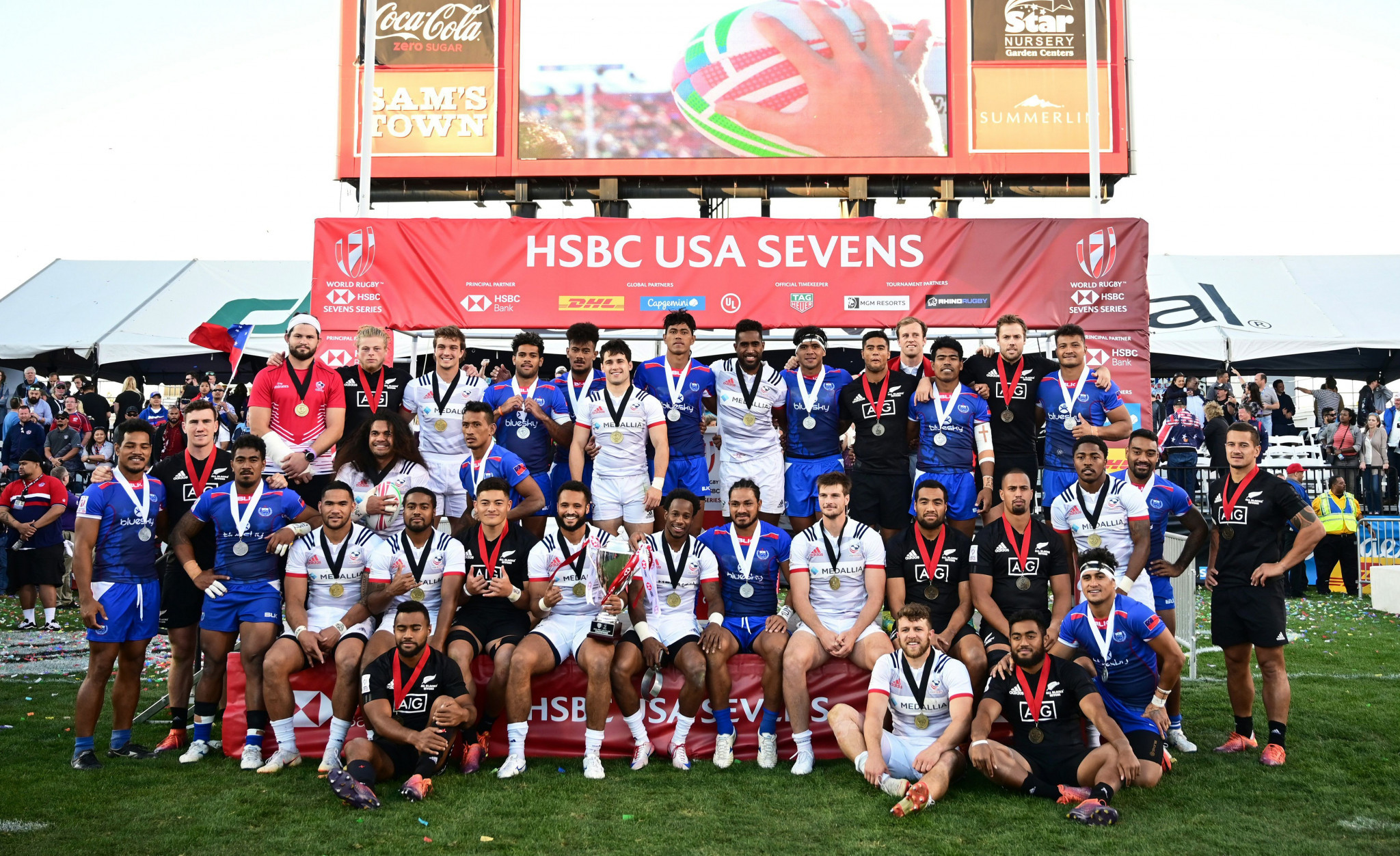 United States defeated Samoa 27-0 in the final of the Las Vegas Sevens event in March ©Getty Images