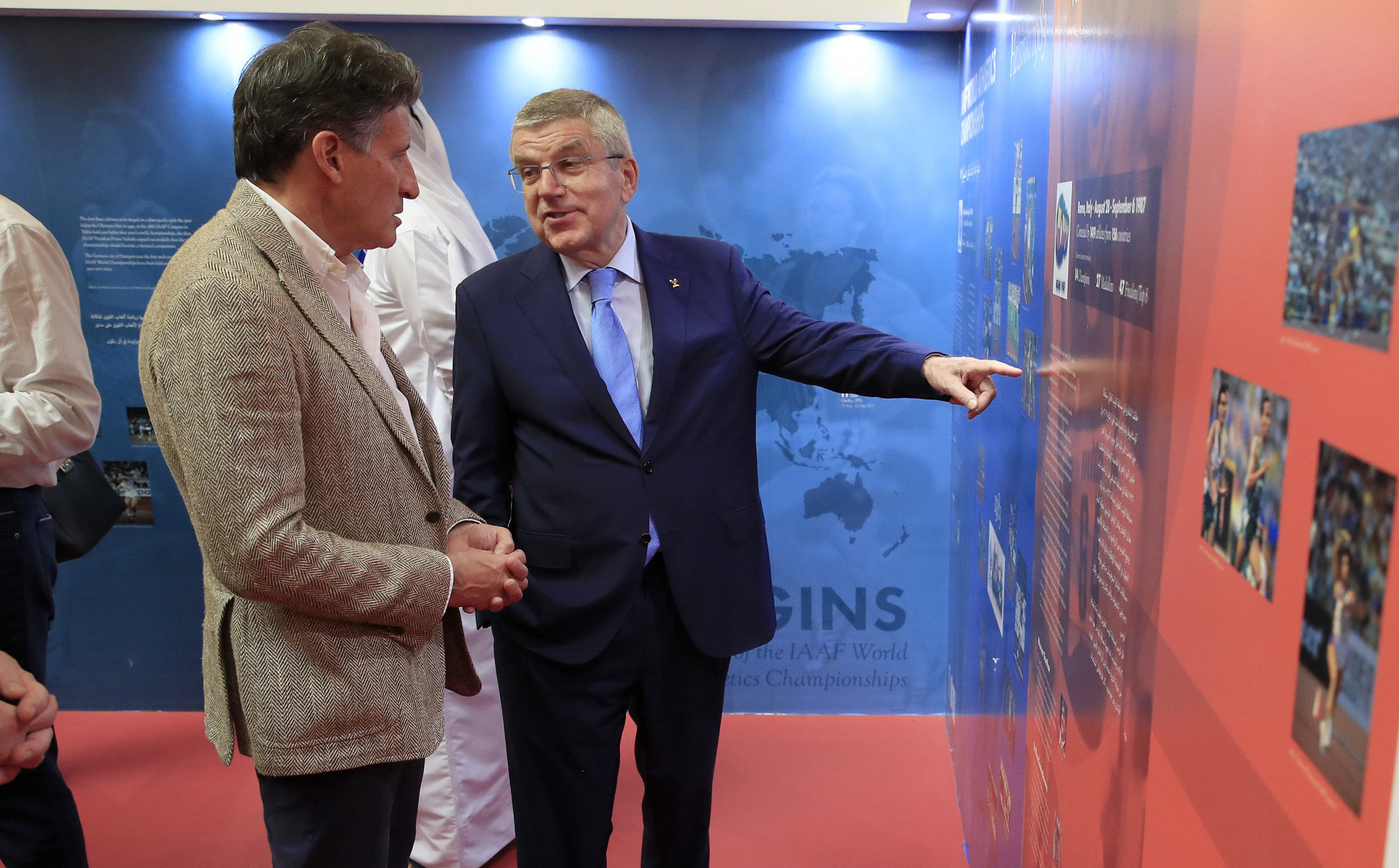 President Thomas Bach, right, is believed to have had informal discussions with Sebastian Coe about becoming an IOC member following his re-election as head of the IAAF ©Getty Images