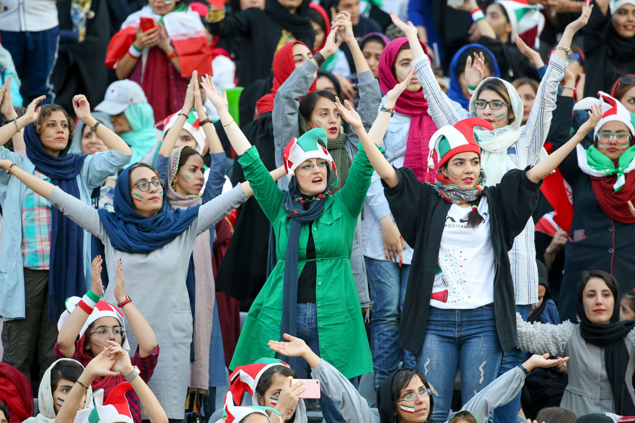 Iranian women cheer on the men's national team at Azadi Stadium in Tehran ©Getty Images