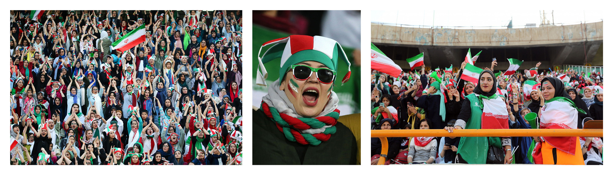 There were emotional scenes as Iranian women flocked into Azadi Stadium for the first time in nearly 40 years ©Getty Images