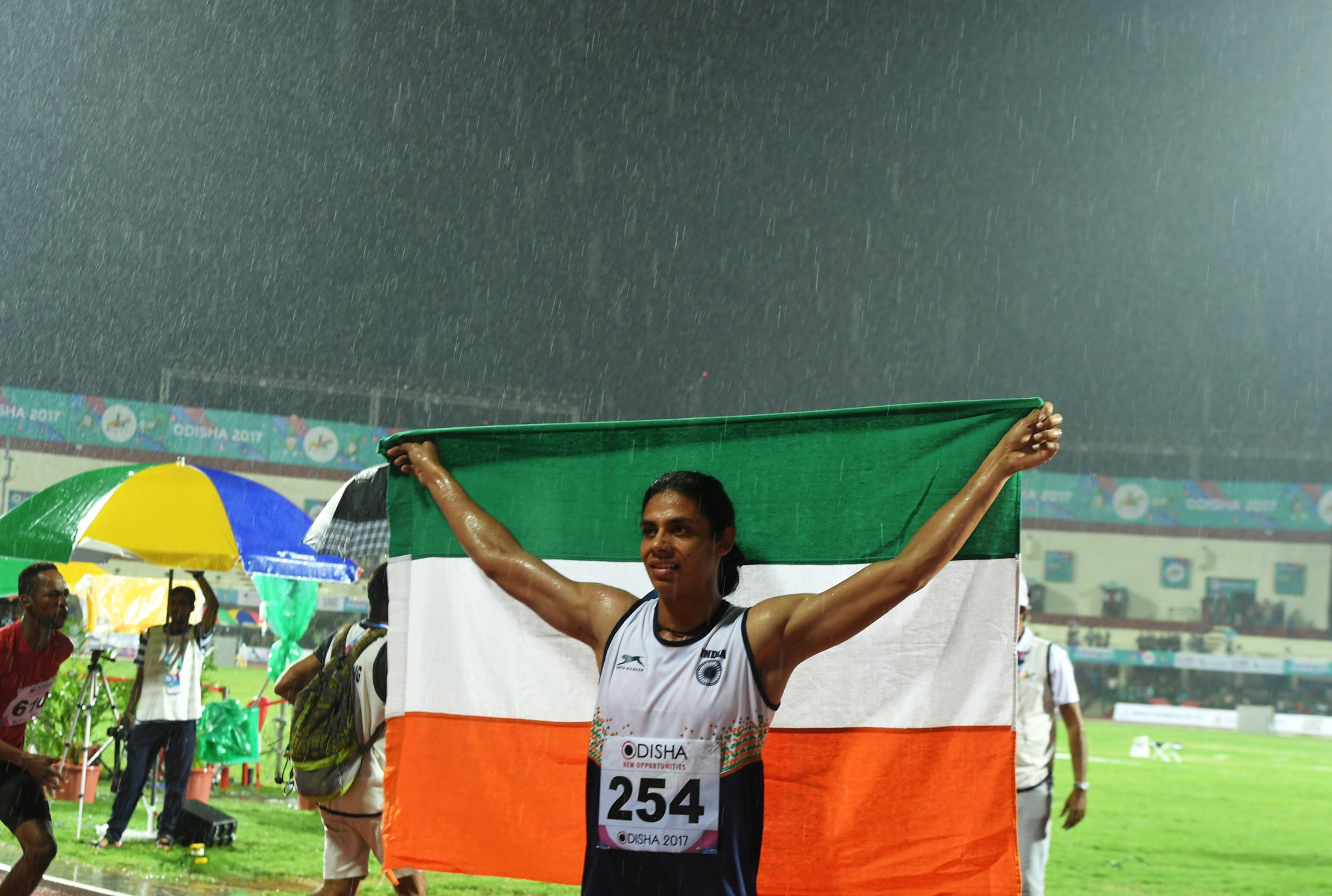 India's Nirmala Sheoran celebrates after winning the gold medal in the 400 metres at the 2017 Asian Championships in Bhubaneshwar - a title she will now be stripped ©Getty Images