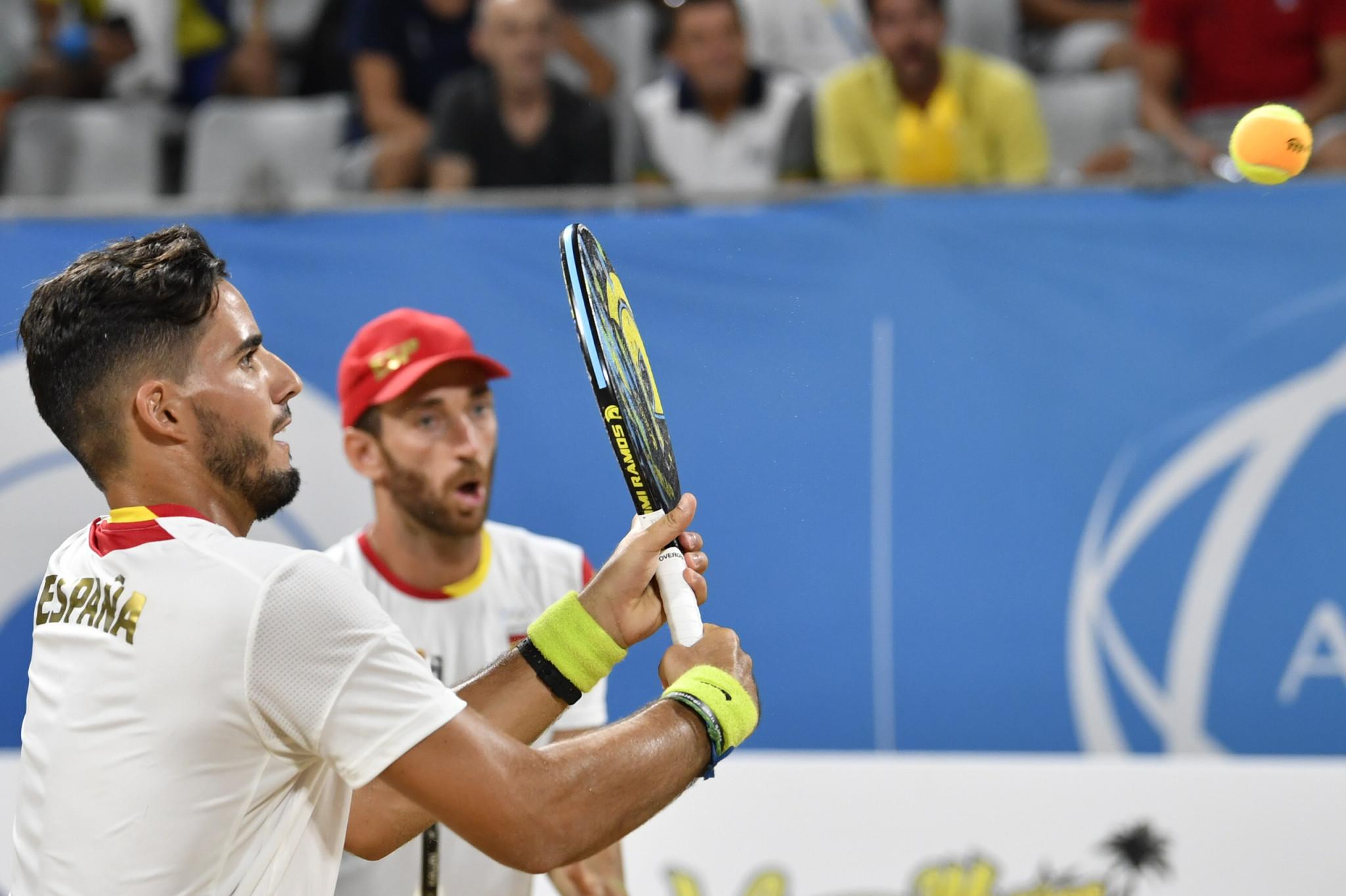 Spain;s Antonio Ramos and Gerard Rodriquez won the men's beach tennis ©ANOC World Beach Games
