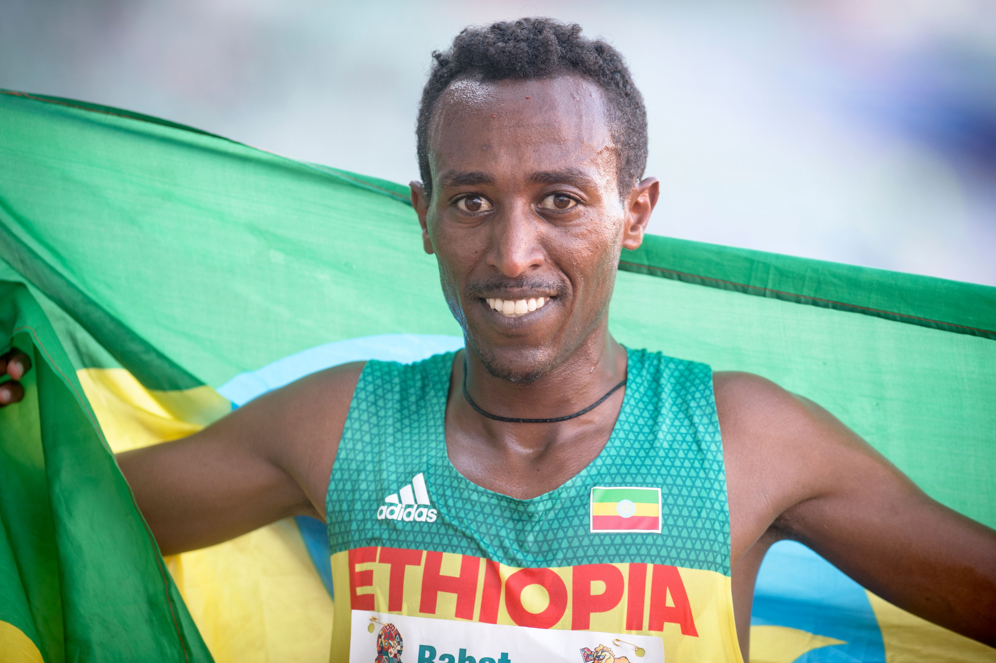 Ethiopia's Berehanu Tsegu celebrates winning the 10,000m af the African Games in Rabat in August - a title he is now set to be stripped of after testing positive ©Getty Images