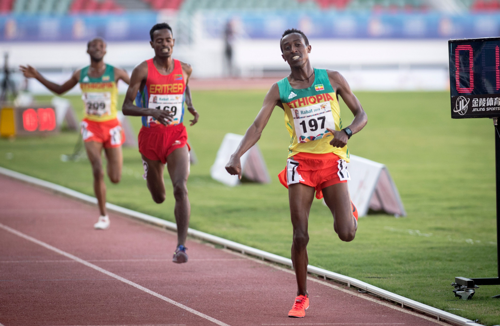 Berehanu Tsegu crosses the line to win the 10,000m at the African Games in Rabat in August ©Getty Images