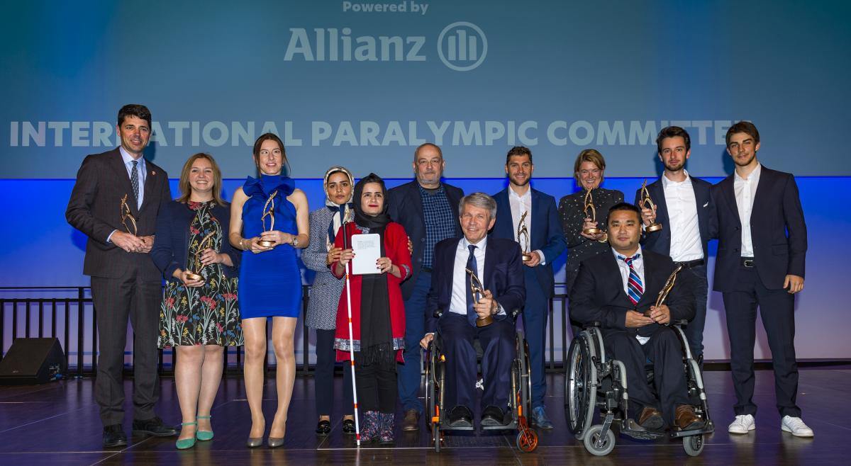 Haitao Wang, skip of China's Paralympic gold medal-winning wheelchair curling team at Pyeongchang 2018, collected the IPC Best Team Performance Award at the ceremony in Bonn ©IPC