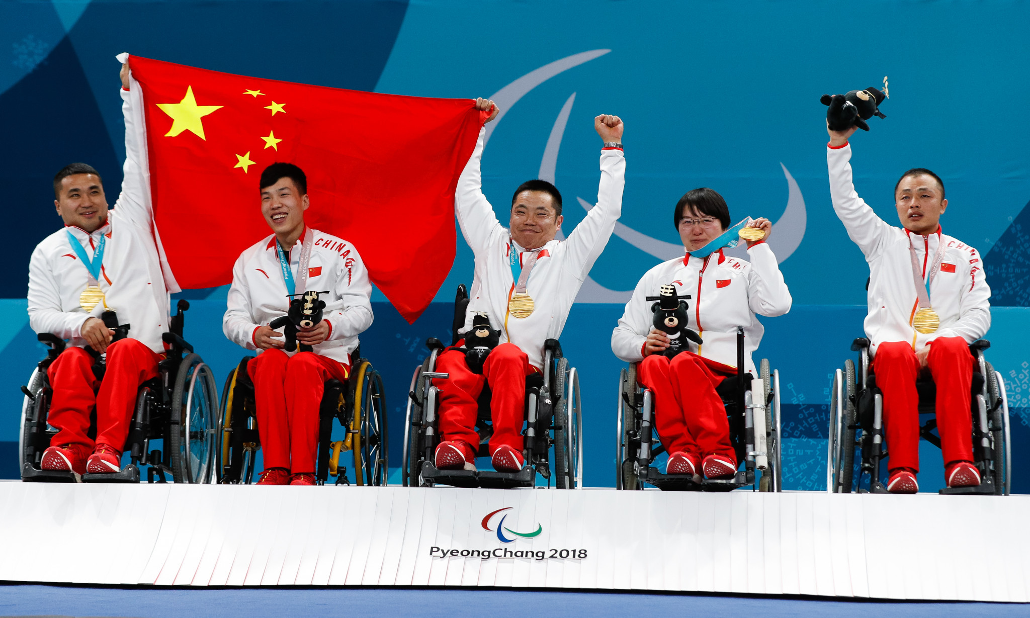 China's wheelchair curling team celebrate their Paralympic Games gold medal at Pyeongchang 2018 ©Getty Images