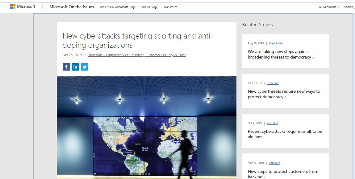 Microsoft revealed in a blog post published today that groups linked to the Russian Government had tried to hack the computers of 16 international anti-doping agencies - some of them successfully ©Microsoft