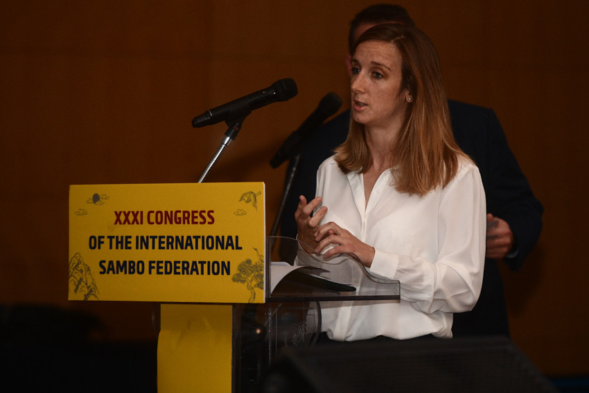Reigning women's 56kg world champion Laure Fournier of France updated the FIAS Congress in South Korea on developments with the FIAS Athletes' Commission ©FIAS