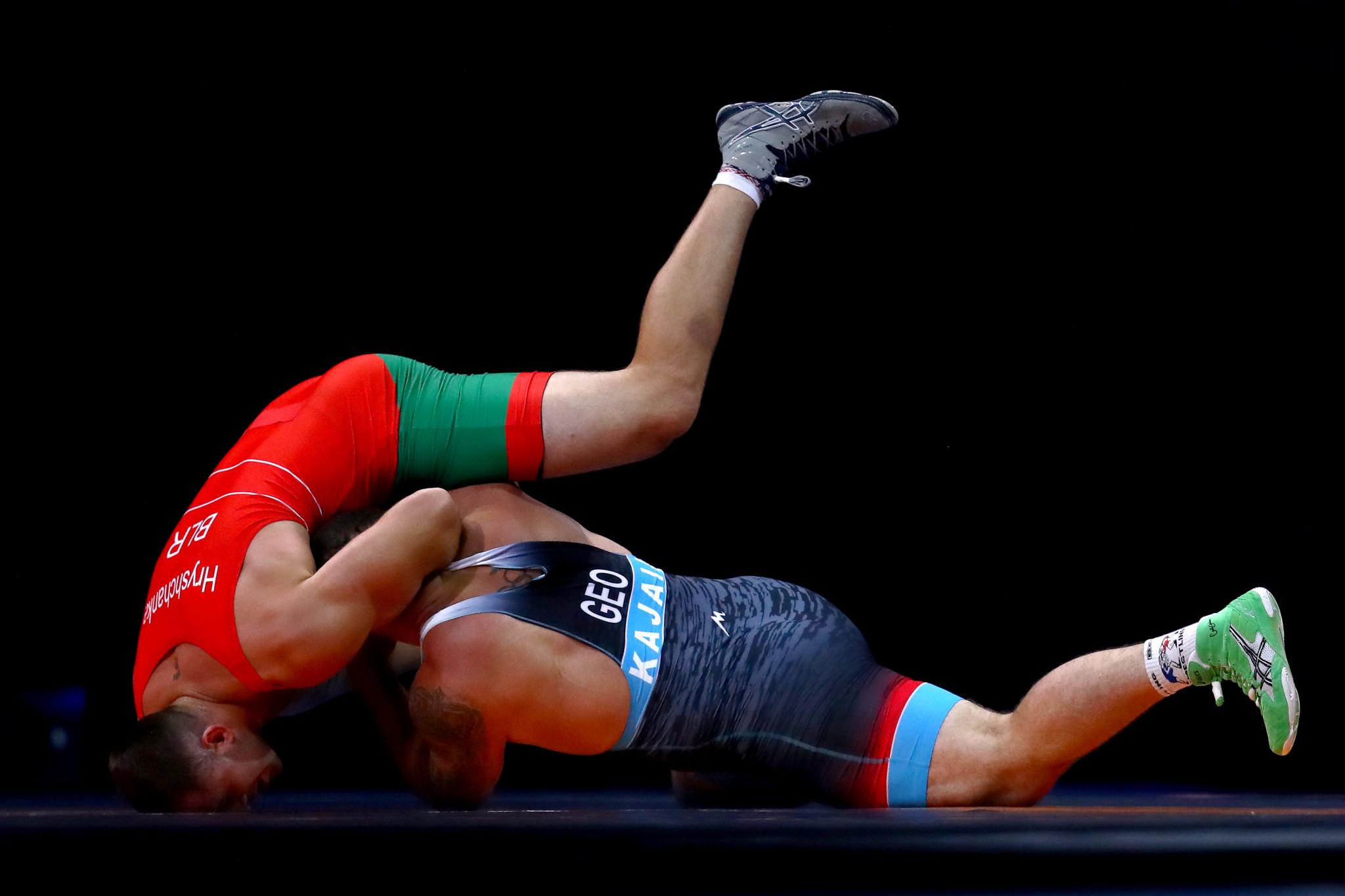 Kiryl Hryshchanka beat Georgian Iakob Kajaia 5-1 in the 130kg Greco-Roman gold medal bout at Minsk 2019 ©Getty Images