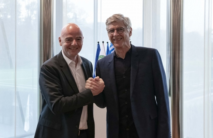 FIFA's chief of global football development Arsène Wenger, right, has pushed hard for a biennial World Cup, alongside FIFA President Gianni Infantino, left ©Getty Images