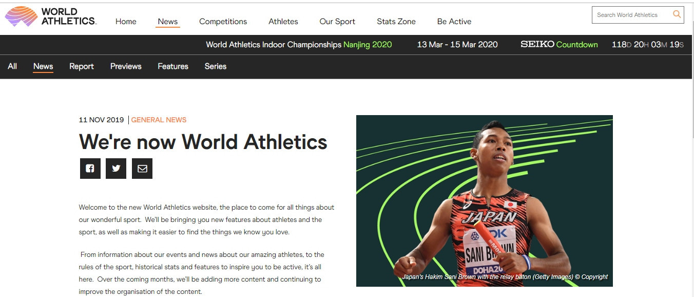 IAAF officially changes name to World Athletics