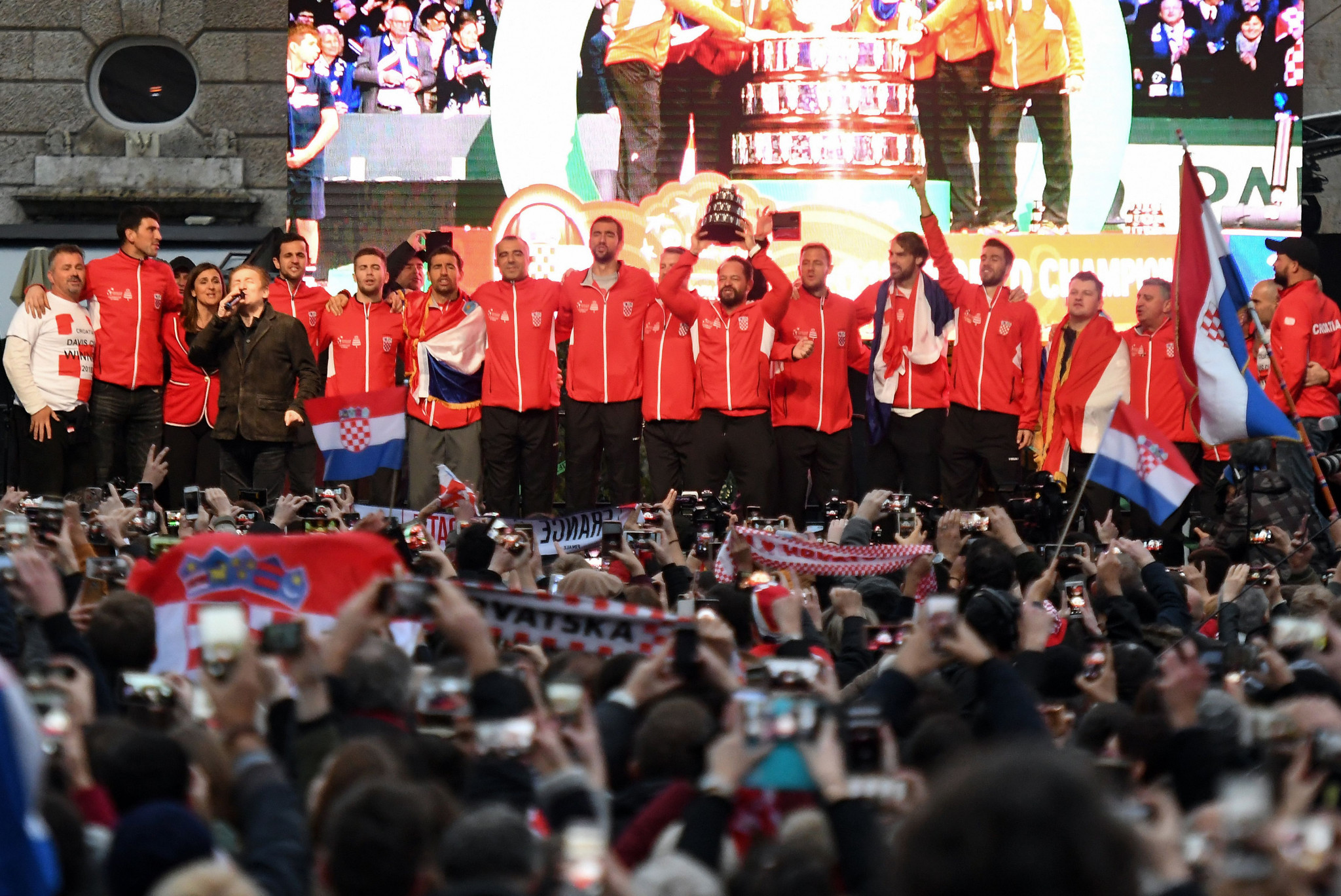 The huge impact of the Davis Cup can be seen by the Croatian public celebrating with their victorious team last year ©AFP via Getty Images
