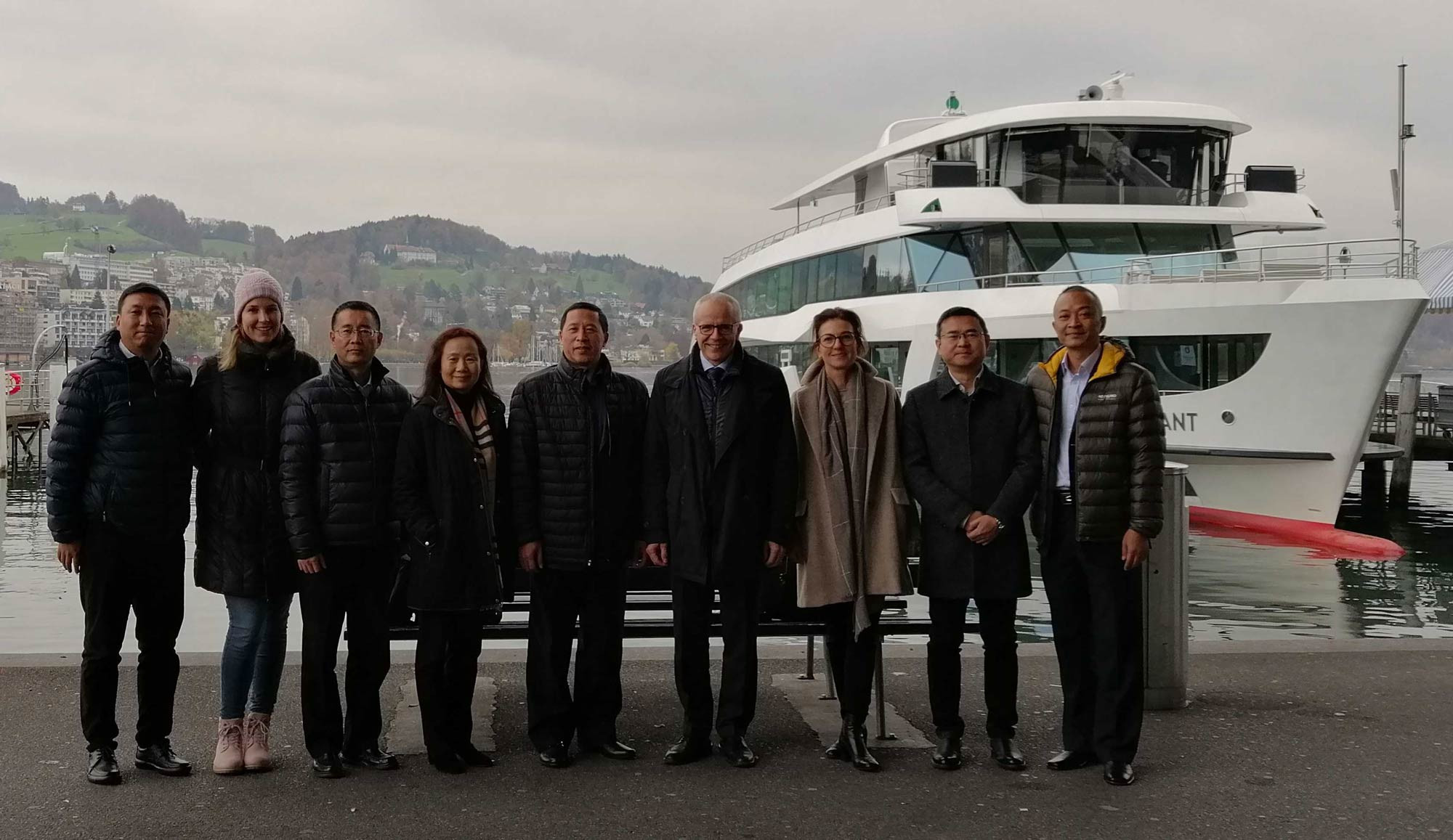 Lucerne 2021 representatives host Chengdu 2021 organisers, including a visit to the Winter Universiade Park area along the downtown banks of Lake Lucerne ©FISU