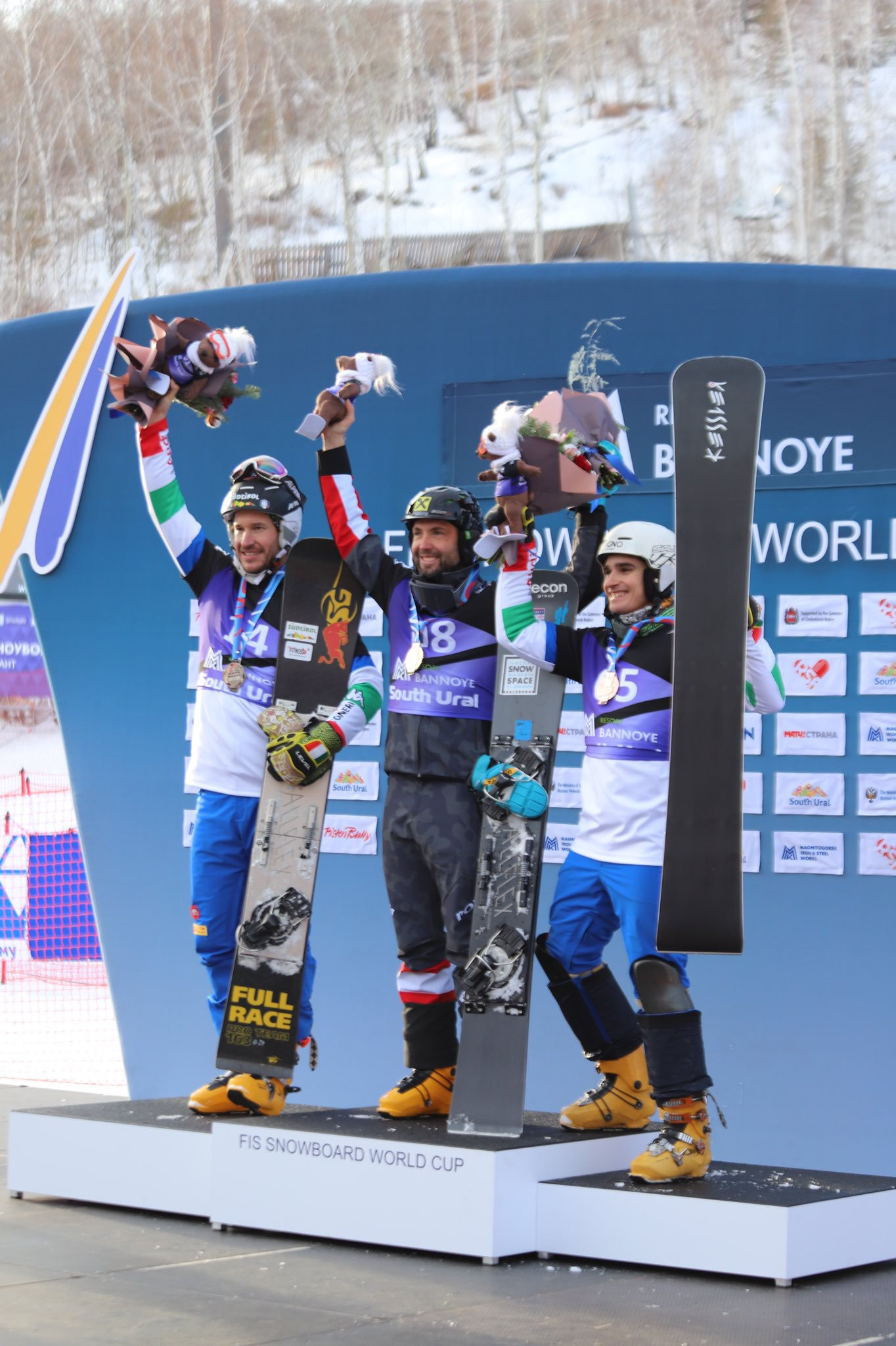 Andreas Prommegger of Austria topped the podium in the men's parallel slalom event ©FIS