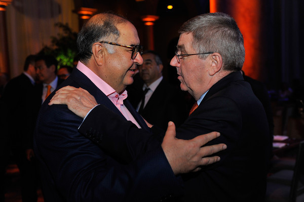 International Fencing Federation President Alisher Usmanov, left, is a close friend of International Olympic Committee counterpart Thomas Bach, right, and written a letter of support for Russian athletes ©Getty Images