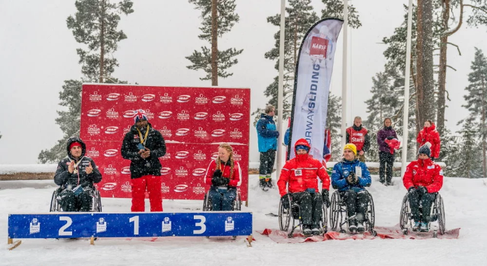 Great Britain's Corie Mapp won the second and final race at the IBSF Para Sport World Cup in Lillehammer today ©IBSF/Girts Kehris
