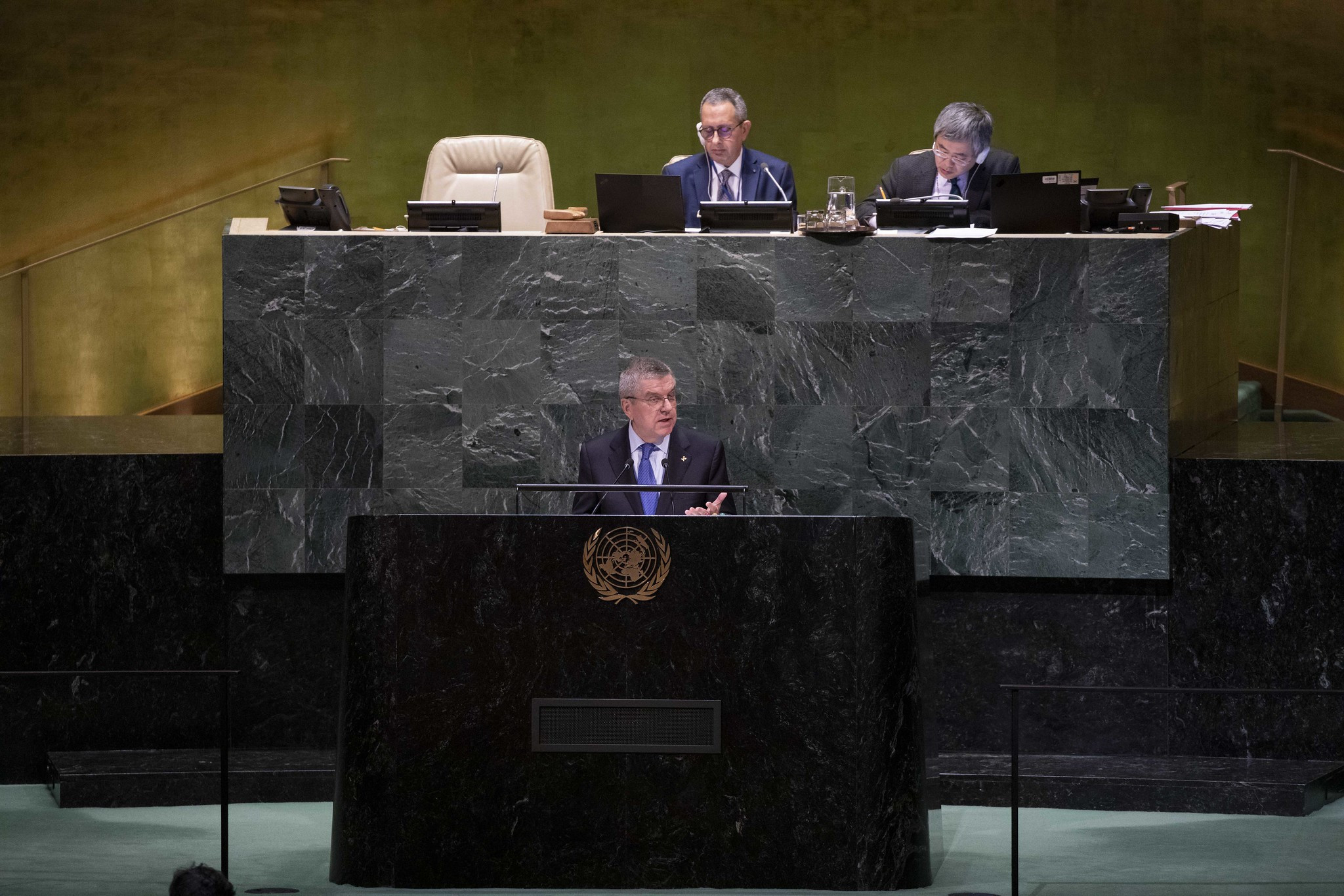 IOC President Thomas Bach attended the UN General Assembly in New York ©IOC