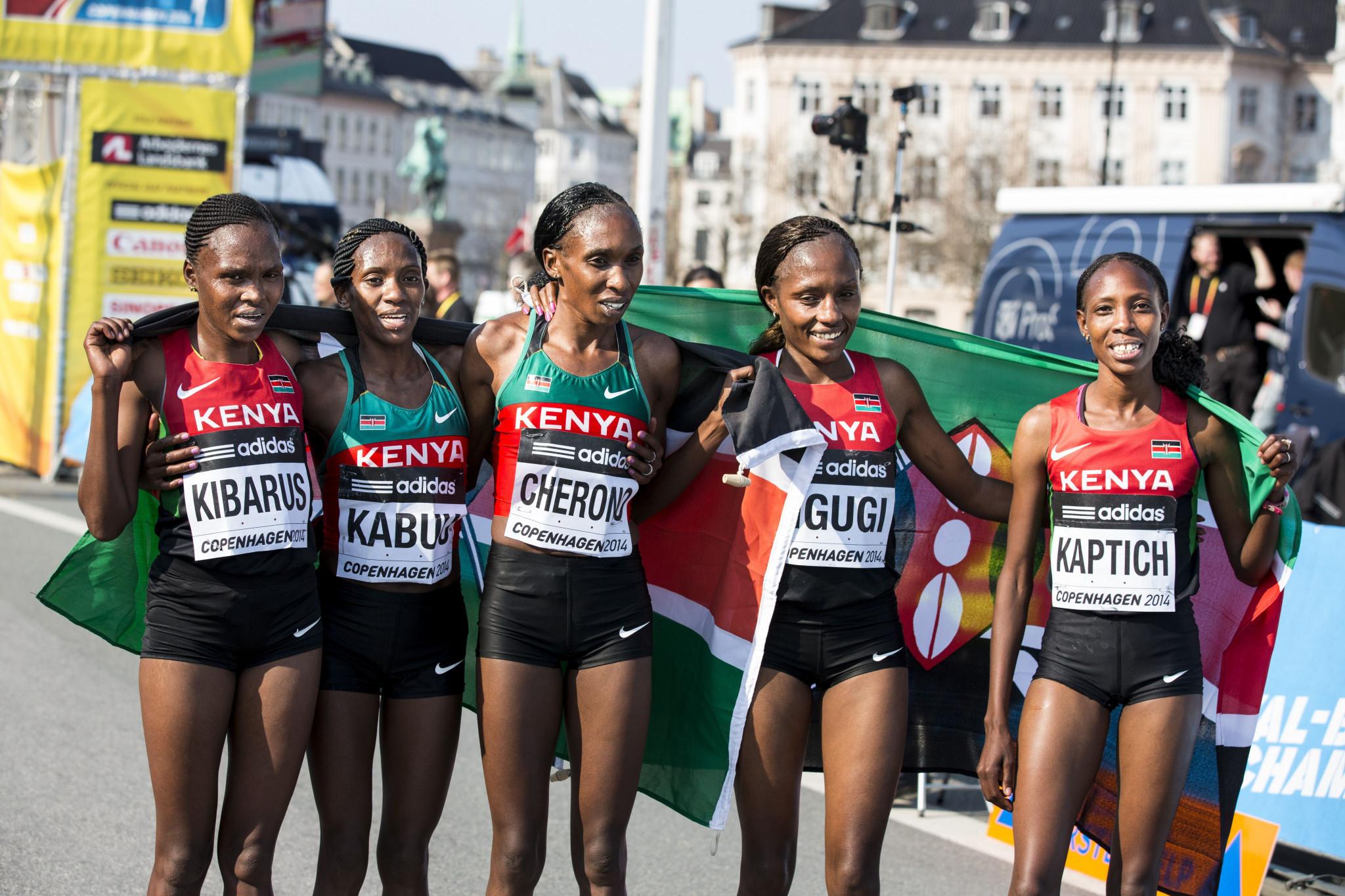 Mercy Jerotich Kibarus, left, had been part of Kenya's team that won the gold medals at the 2014 IAAF World Half Marathon Championships in Copenhagen ©Getty Images