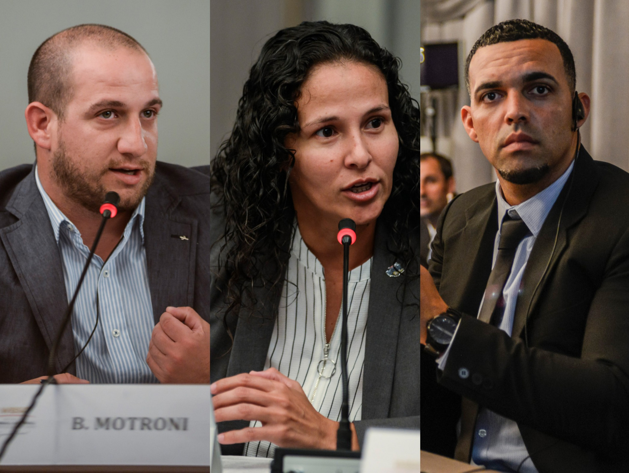 The Netherlands' Randolph Oduber, right, and Argentina's Bruno Motroni, left, are both members of the WBSC Athletes' Commission, which is co-chaired by Venezuela's María Soto, centre ©WBSC