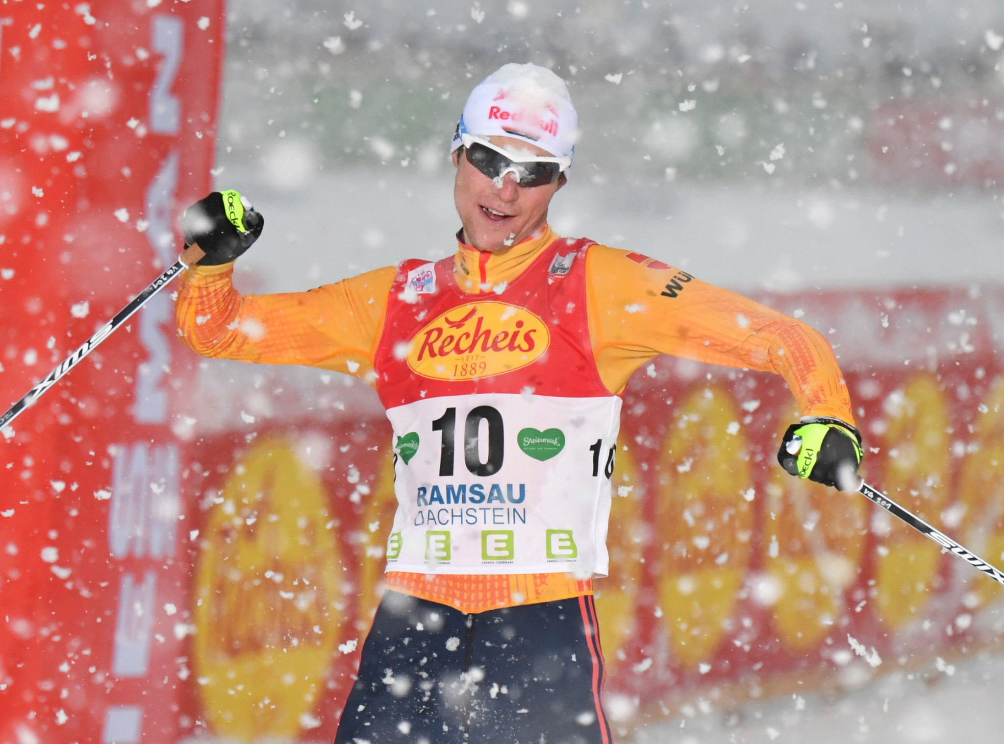 Vinzenz Geiger of Germany was the winner of the first race at the FIS Nordic Combined World Cup event in Ramsau am Dachstein - ending Norway's Jarl Magnus Riiber a sixth consecutive victory ©Getty Images