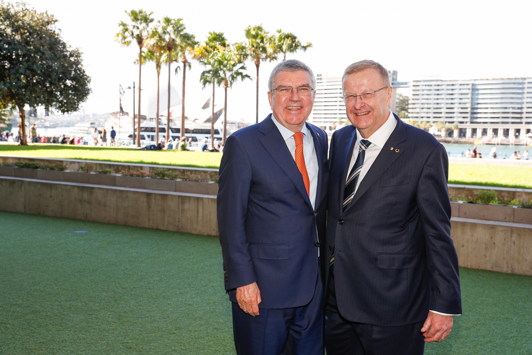 Australian Olympic Committee President John Coates, right, hopes to present Queensland's bid for the 2032 Olympic and Paralympic Games to IOC counterpart Thomas Bach during Lausanne 2020 ©Getty Images